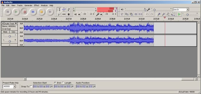 Healthy Waveform: Louder element of the recording do not exceed your maximum signal level