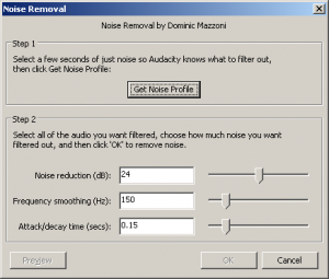 Noise Removal Dialog: The default settings seem to work fine for me