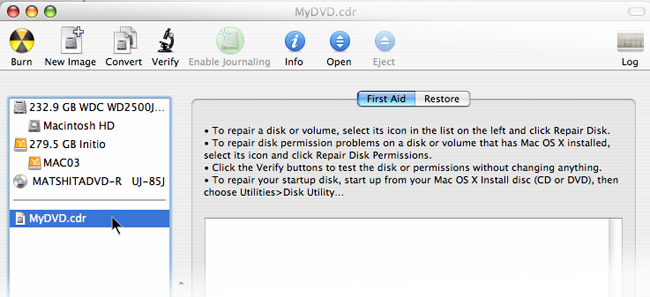A new section will appear in the in the Disk Utility listing your new disc image