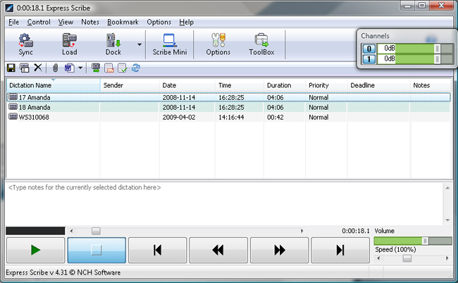 To get started, the easiest thing to do is to drag and drop your recordings onto Express Sribes dictation listing