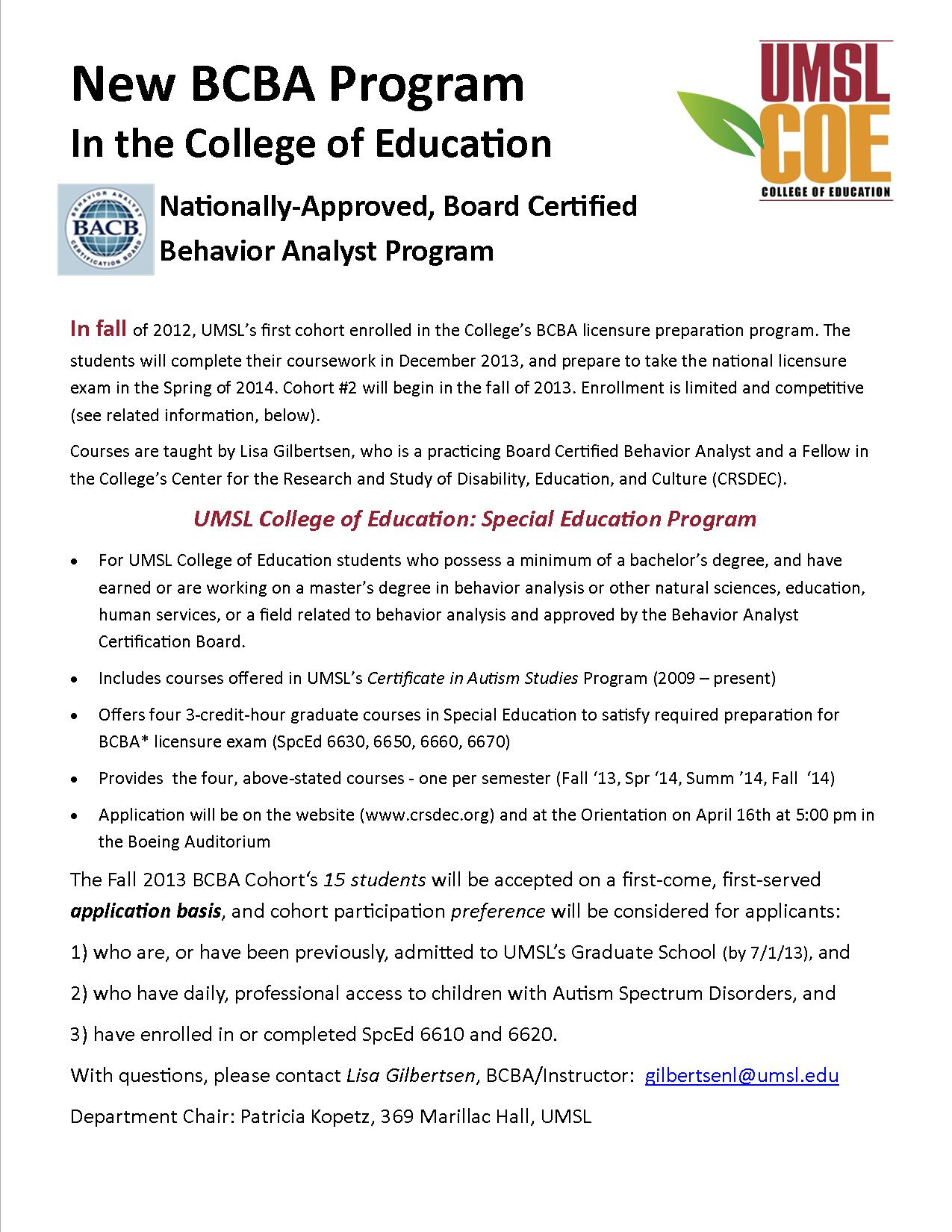 bcba coursework Aba's suite of self-paced and facilitated online training courses, offered through the aba lms.