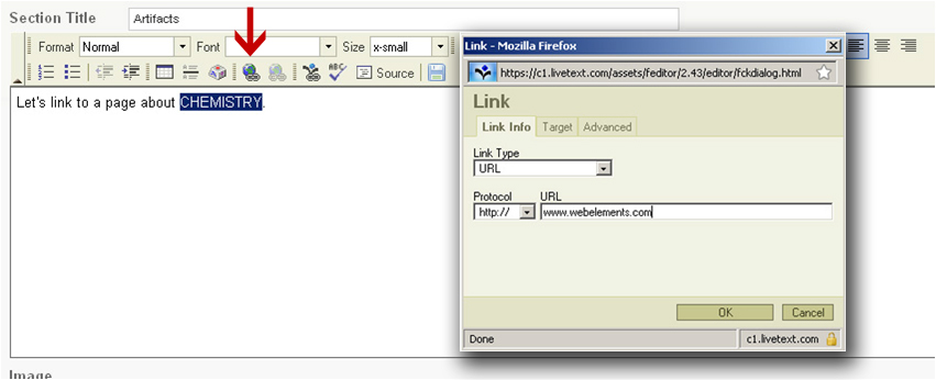 Basic hyperlinking to a web address using the Hyperlink tool