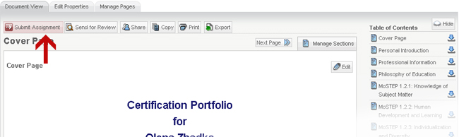 When you are ready to submit for portfolio for an assignment, begin by clicking on Submit Assignment